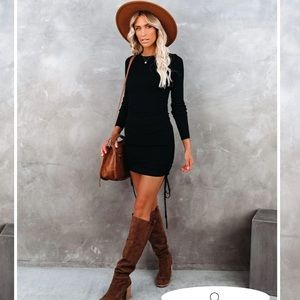 Yasmine Long Sleeve Ruched Knit Dress in Black